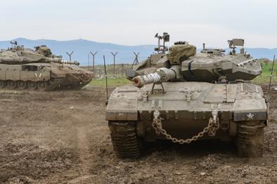 以軍坦克聚集戈蘭高地